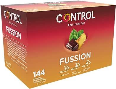 Control Fussion Preservativos - Caja de condones de aormas afrodisíacos: chocolate, menta y melocotón - 144 unidades (pack grande ahorro) - Gama placer natural, lubricados, perfecta adaptabilidadades: Amazon.es: Salud y cuidado personal