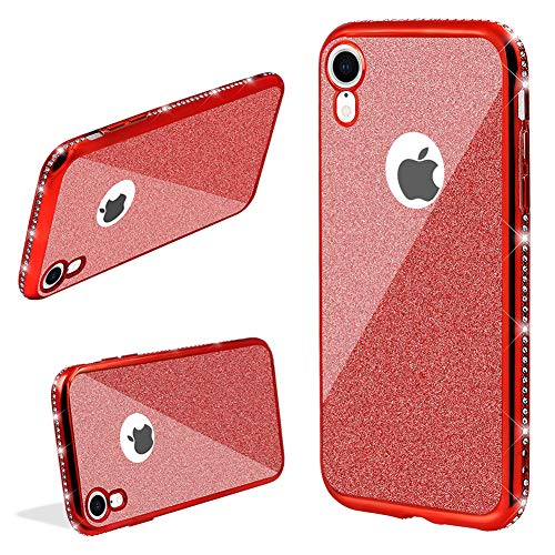 (LCHDA 2 in 1 Glitter Silicone Case For iPhone X/iPhone XS,Bling Sparkle Diamond Rhinestone Bumper Cute Luxury Sparkle Shockproof Protective Girl Women Cover with Screen Protector,Red)