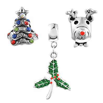 Souarts Mixed Christmas Tree Elk Holly Leaf Shaped Charms Beads For