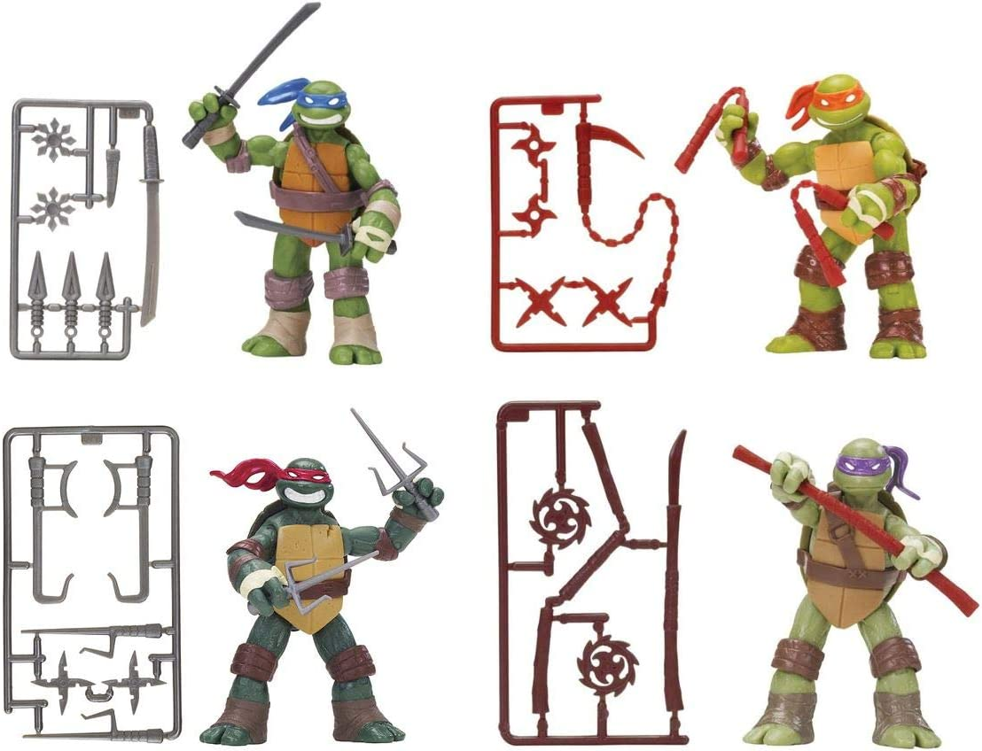 Nickelodeon Teenage Mutant Ninja Turtles Set of 4 Basic Action Figures [Leonardo, Michelangelo, Raphael & Donatello]