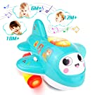 HISTOYE Baby Development Toys, Baby Airplane Toy with Lights and Music, Electronic Moving Aeroplane Toys for 1 2 + Year Old ,Plane Musical Toys to Encourage Crawling for Toddlers 6 9 12 18 Month Old