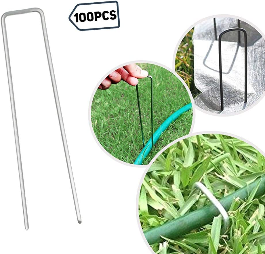 · Petgrow · 6 Inch Garden Stakes Galvanized Landscape Staples,U-Type Turf Staples for Artificial Grass, Pin Stakes for Securing Fences Weed Barrier, Outdoor Wires Cords Tents Tarps,100 Pack