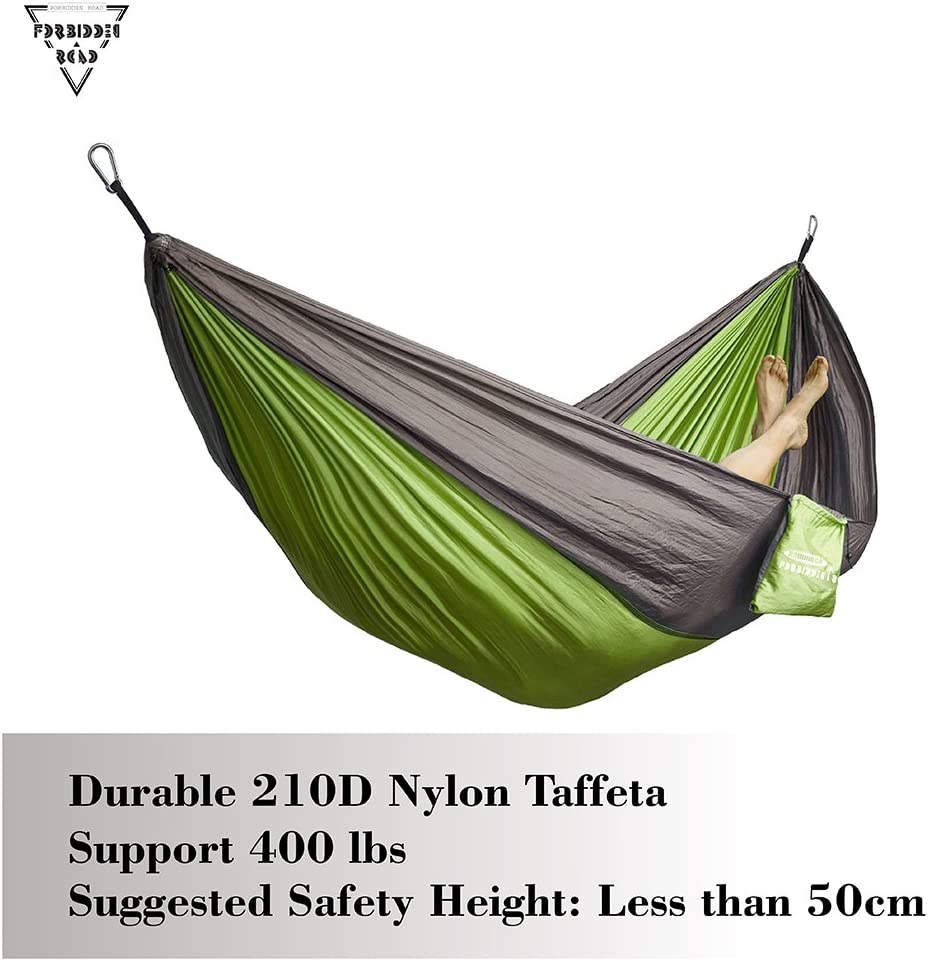 Forbidden Road Hammock Single Double Camping Portable Parachute Hammock for Outdoor Hiking Travel Backpacking 660lbs Ropes Carabiners Included Support 400lbs 210D Nylon Taffeta Hammock Swing