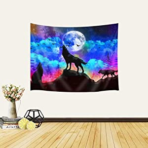 Wolf Tapestry, Wolves on The Mountain and Full Moon and Forest Psychedelic Wall Tapestry, Tapestry Wall Hanging for Living Room Bedroom Home Decor, 60X40 In