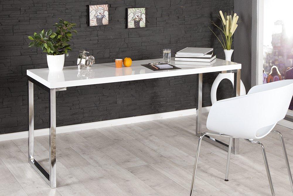 Riess Ambiente Design Laptoptisch WHITE DESK 160x60 cm hochglanz wei/ß Schreibtisch B/üro Konsole Konsolentisch B/ürotisch