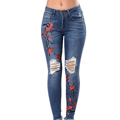 8f192f5f4b29 TWIFER Damen Skinny Slim Hosen Eckbestickte Kleine Füße Elastische Löcher  Jeans  Amazon.de  Bekleidung