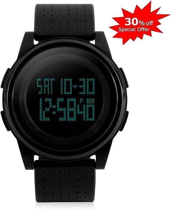 Los hombres de la Digital reloj de pulsera deportivo, luz de fondo LED reloj Digital grande cara de pantalla militares relojes Simple Thin único diseño ...
