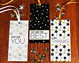 """All Occasion Gift Tags with Ribbon String by Saybrook. Set of 24 Custom Tags with Uncoated Back for Writing 'To From"""" and Personalized Messages. White, Gold, Black"""