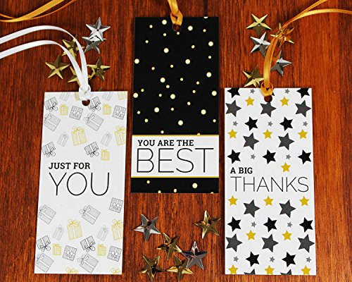 "Congratulations Gift Tag (All Occasion Gift Tags with Ribbon String by Saybrook. Set of 24 Custom Tags with Uncoated Back for Writing 'To From"" and Personalized Messages. White, Gold, Black)"