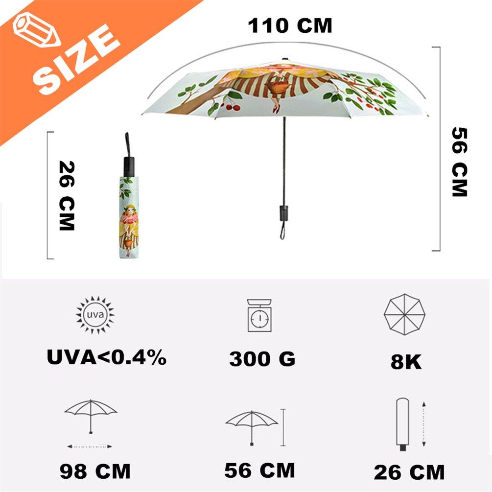 Chien Parapluie Femme Enfants Parapluies pliants Protection UV Cr/éatif Imprim/é en 3D Impression de Bande dessin/ée de Chien Parasol /Ét/é Colle dargent 190T 8K Parasols Cadeaux daffaires