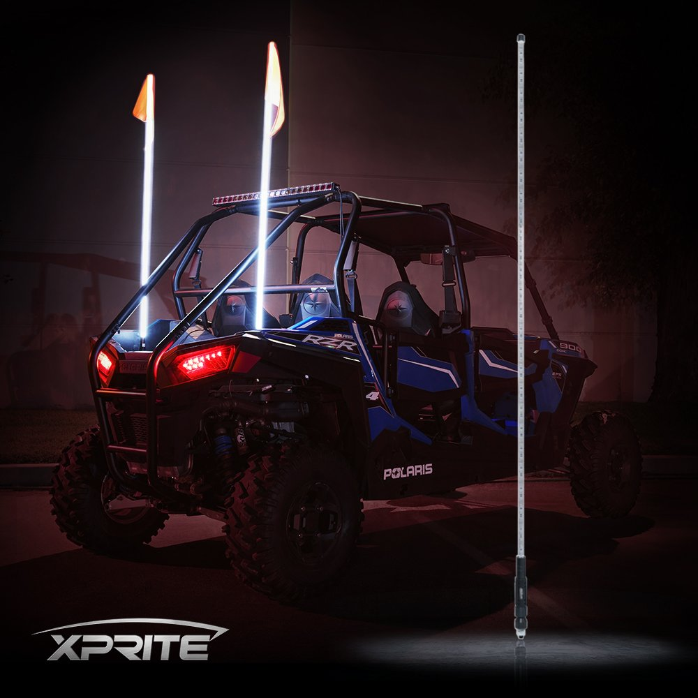 Xprite 5ft (1.5M) LED Whip Lights Flag Pole Safety Antenna Lamp Waterproof for Sand Dune Buggy UTV ATV RZR 4X4 Trophy Truck Offroad Jeep - WHITE UTV-WHIP-G1-W