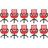 Mid Back Mesh CGVnp Ergonomic Computer Desk Office Chair, Red, 10 Pack