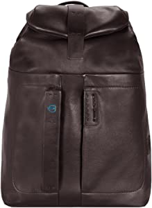 Piquadro Flap Over Backpack with Padded Pocket Bottle Umbrella Holder, Brown, One Size