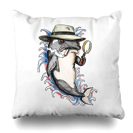 Ahawoso Funda de almohada para tatuaje de carbón Orca Killer Whale ...