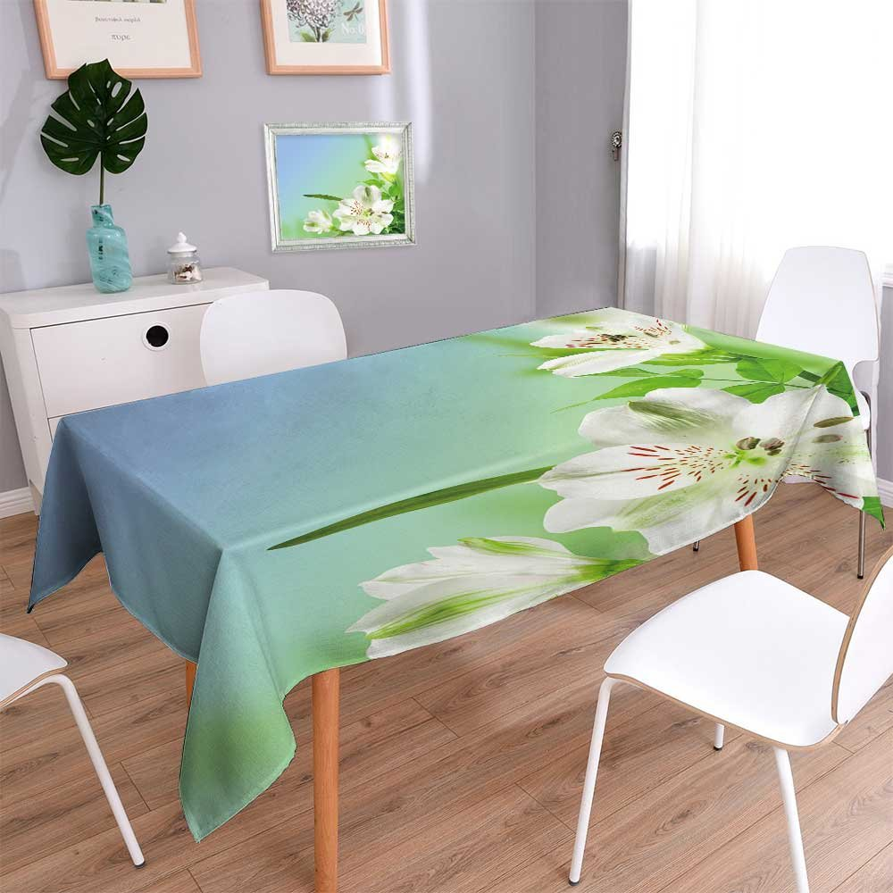 PRUNUSHOME Linen Square Tablecloth flowers white lily with green leafes on blue background Washable Table cloth Dinner Kitchen Home Decor/54W x 72L Inch