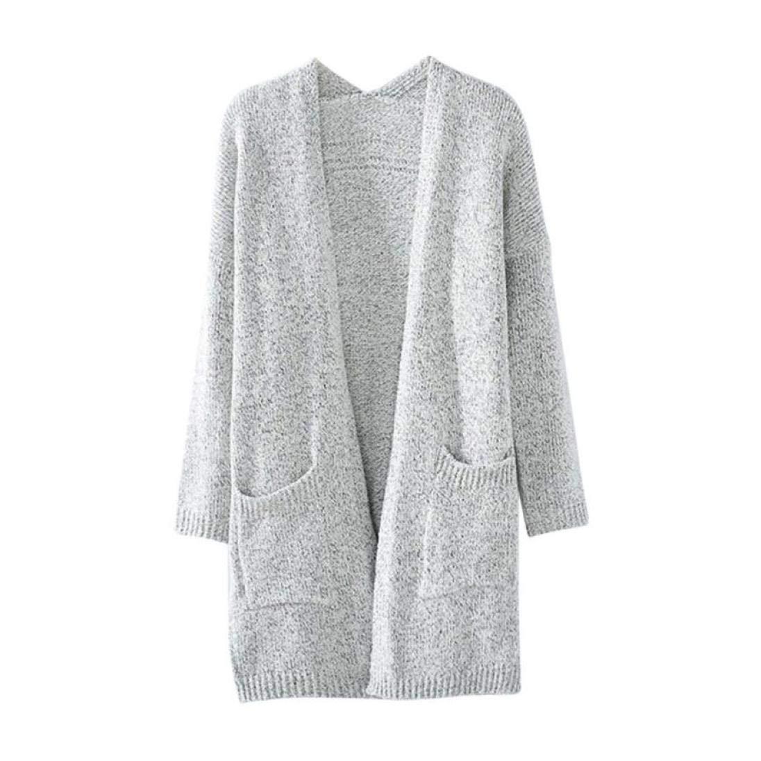 FIRERO Womens Lady Casual Knit Sleeve Sweater Coat Cardigan Jacket