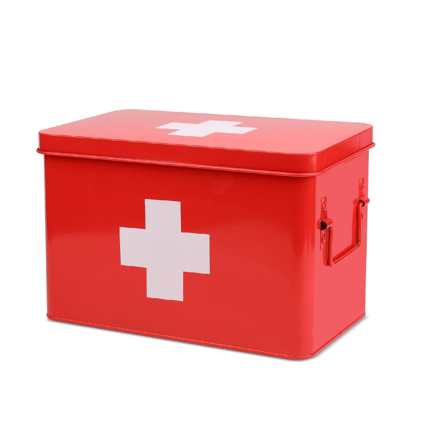 Flexzion Medicine Storage Box, Metal First Aid Box with Side Handles, Top Removable Tray & Separated Compartments for Prescriptions, Tools, Rations (Red) by Flexzion