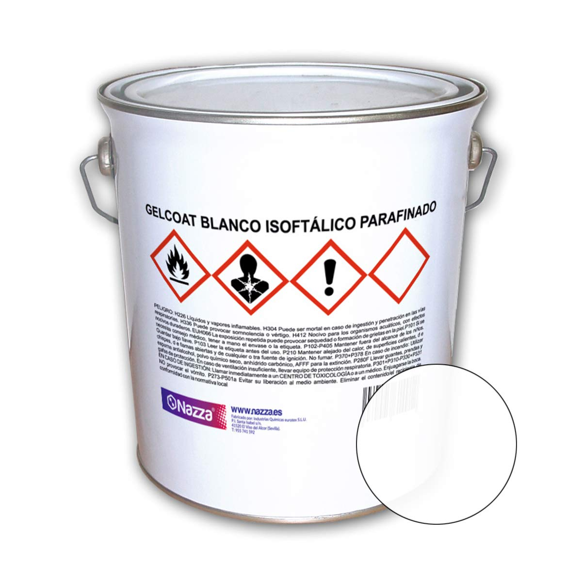 Top Coat - Gelcoat Isoftálico Parafinado Nazza   Color Blanco   Gran resistencia a la intemperie   resistencia a UV e hidrólisis   1 Kg.: Amazon.es: ...