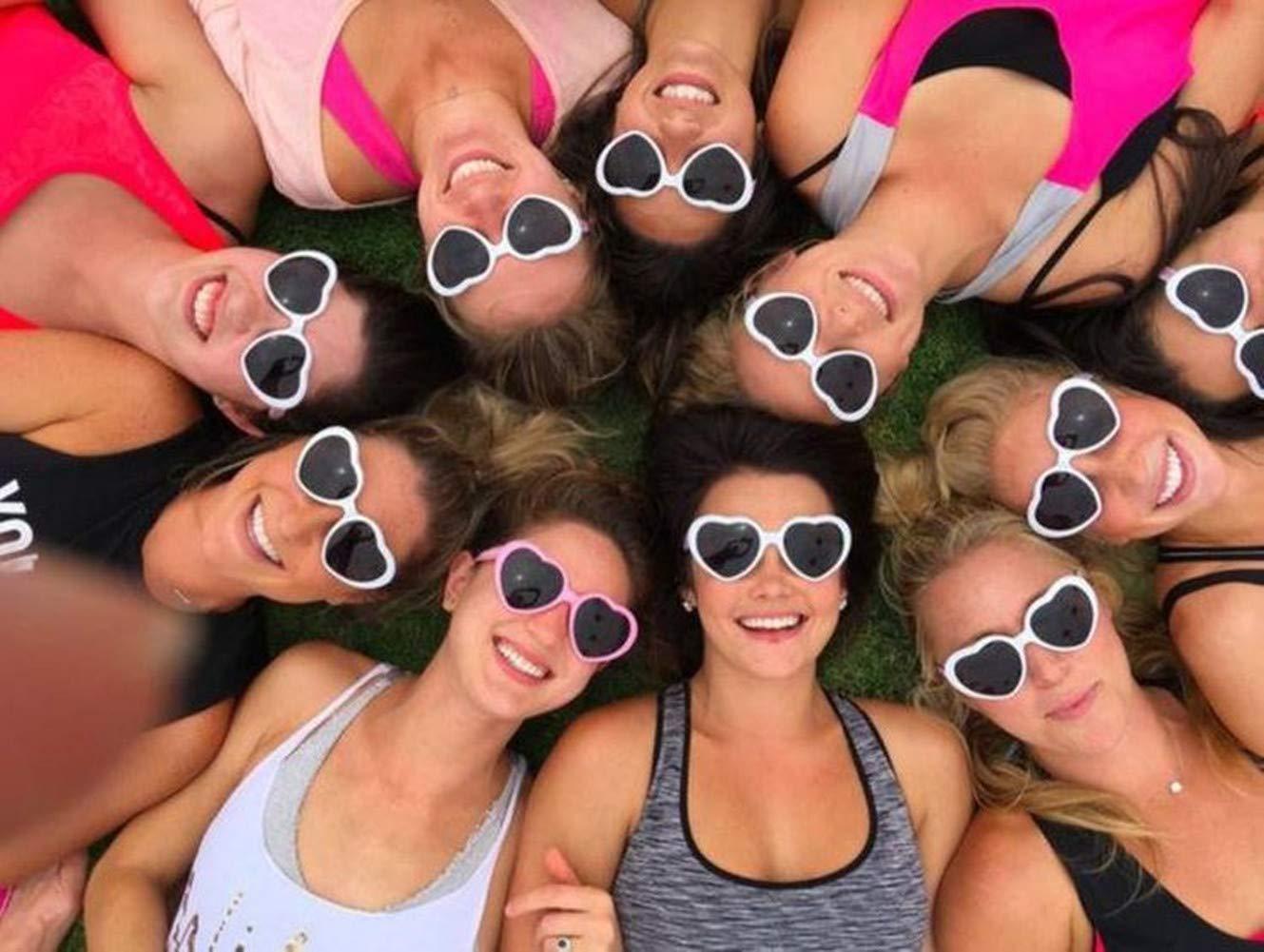 6-Pack Black Onnea 6 Pairs Neon Colors Heart Shape Party Favors Sunglasses Pack Bulk for Kids Adults