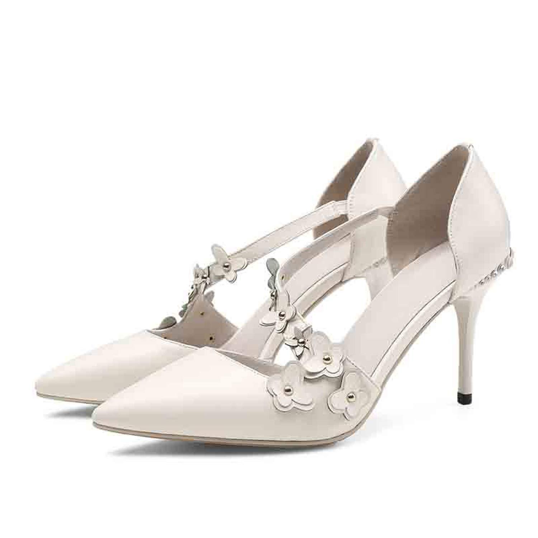 EF1903 White Sunny Doll Women Pumps Sheepskin Pointed Toe Thin High Heel Sweet Flower Decoration Women shoes US Size 3-9.