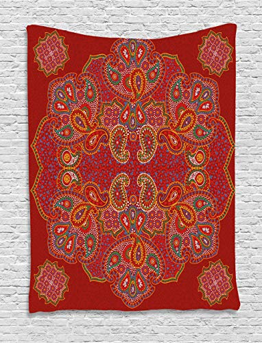 Ambesonne Mandala Tapestry, Moroccan Persian Design Oriental Rectangular Paisley Floral Print, Wall Hanging for Bedroom Living Room Dorm, 60 W X 80 L Inches, Burgundy White