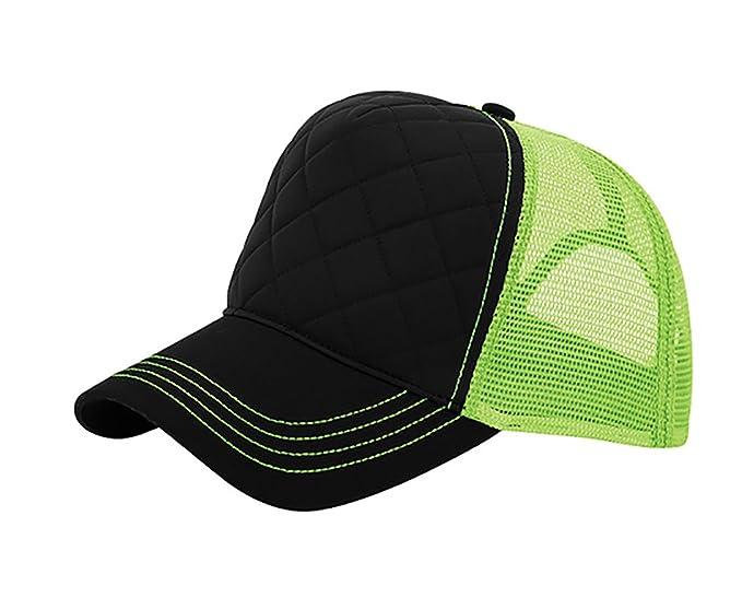 b9acb340 TOP HEADWEAR Neon Fashion Quilted Trucker Cap - Black/Neon Green at ...