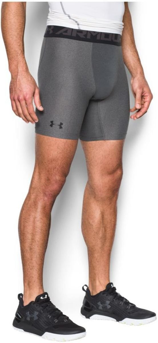 Under Armour Men's HeatGear Armour 2.0 Mid Shorts, Carbon Heather (090)/Black, X-Small by Under Armour (Image #4)