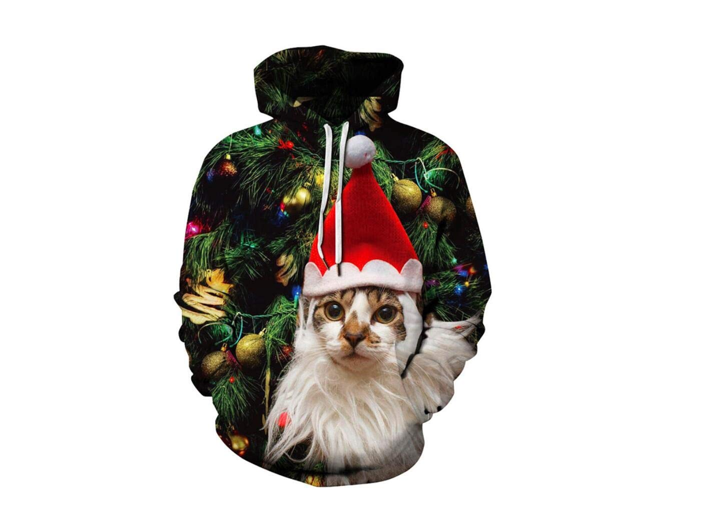a82bcafb53cfb XeibD Christmas Cat Pullovers Autumn Winter Drawstring Hoodie Print Tops  Couple Wear Outwear Sweater Sweatshirt -XXL XXXL  Amazon.co.uk  Sports    Outdoors