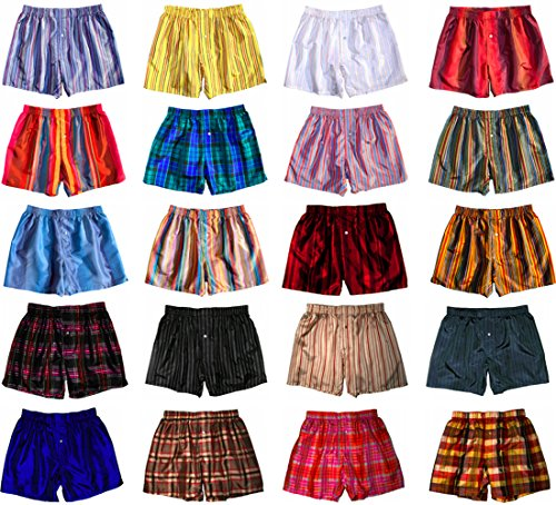 Two Assorted Madras Silk Boxers by Royal Silk - XL (37-38