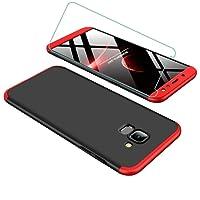 Samsung A6 2018 Hülle 360 Grad Rote Schwarz Ultra Dünn Alles Inklusive Schutz 3 in 1 PC Telefon Cover Case+Frei Hartglas Glasfilm Schutzfolie JOYTAG-Rote Schwarz