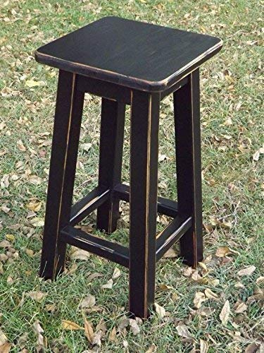 Black bar stool counter stool wood distressed 25 -28 -30 high