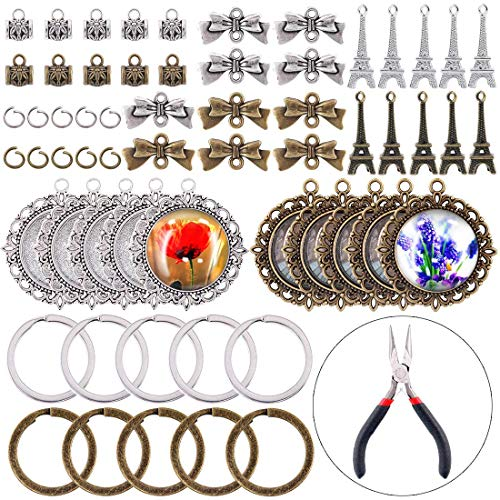 Glarks 110Pcs Round Double-Sided Pendant Trays and Glass Cabochon with Eiffel Tower & Bow-Knot & Key Ring & Pendant Clasps for Bracelet Necklace Crafting DIY Jewelry Gift Making, Plier Included