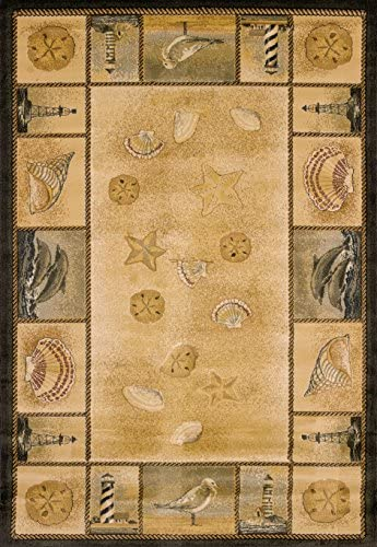 United Weavers of America Genesis Collection Beachcomber Heavyweight Heat Set Olefin Rug, 7-Feet 10-Inch by 10-Feet 6-Inch, Natural
