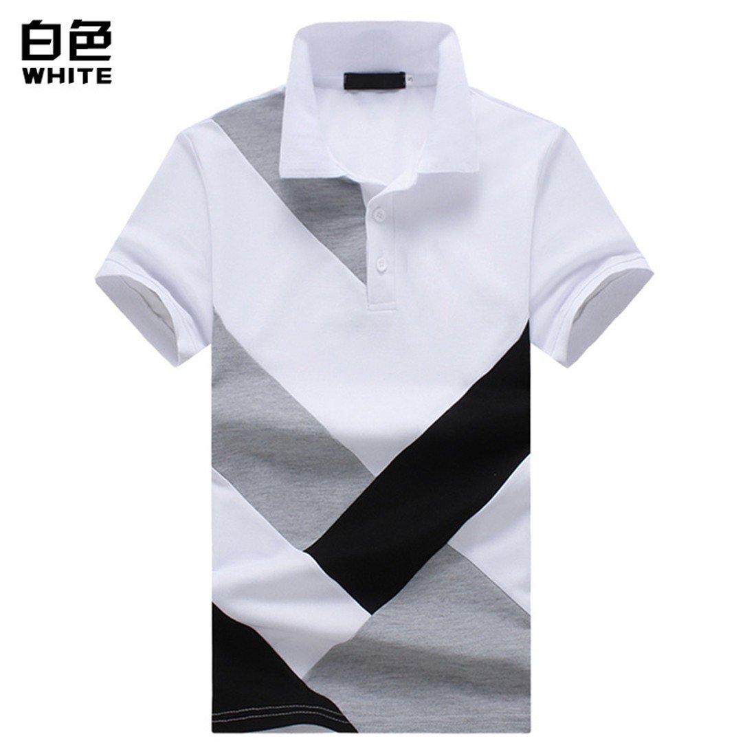 YU & xin-menのメンズ服夏ステッチ半袖ポロshirt-yu & Xin X-Large ホワイト B07CSKDXN3