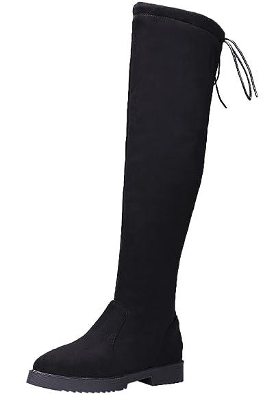 BIGTREE Damen Knie Stiefel Faux Wildleder Schnüren Herbst Winter Schwarz Elegant Lang Stiefel von 34 EU 4lbbceret