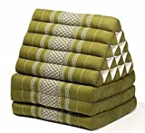 Jumbo Size Thai Handmade Foldout Triangle Thai Cushion, 73x18x3 inches, Green Kapok Fabric, Brown Cream, Premium Double Stitched, Products From Thailand