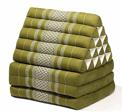 Jumbo Size Thai Handmade Foldout Triangle Thai Cushion, 73x18x3 inches, Green Kapok Fabric, Brown Cream, Premium Double Stitched, Products From Thailand by WADSUWAN SHOP