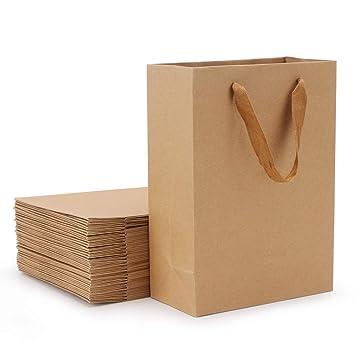 Amazon.com: 25 bolsas de regalo de papel kraft, bolsas de ...