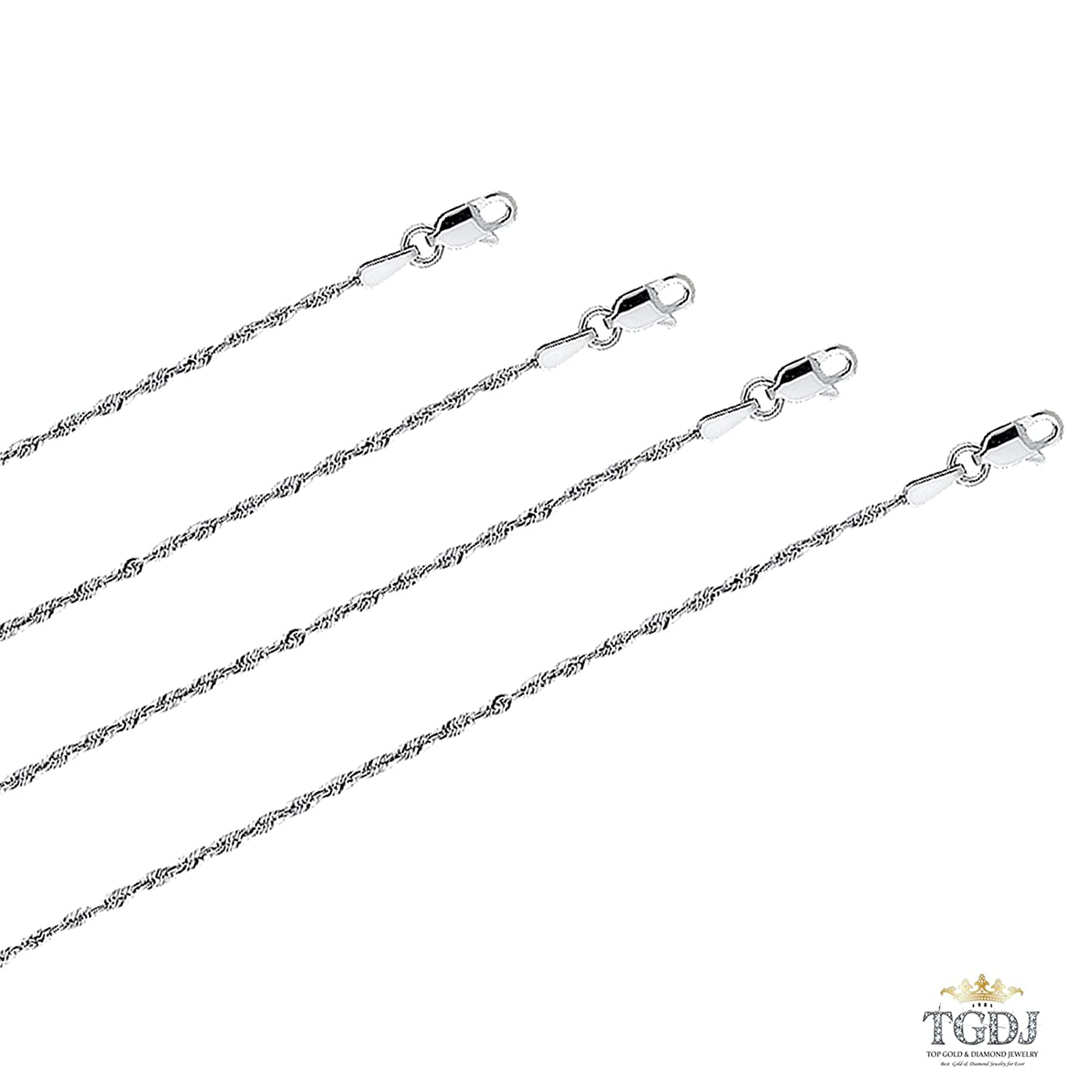 14k White Gold 1.5 mm Rope Chain with Lobster Clasp