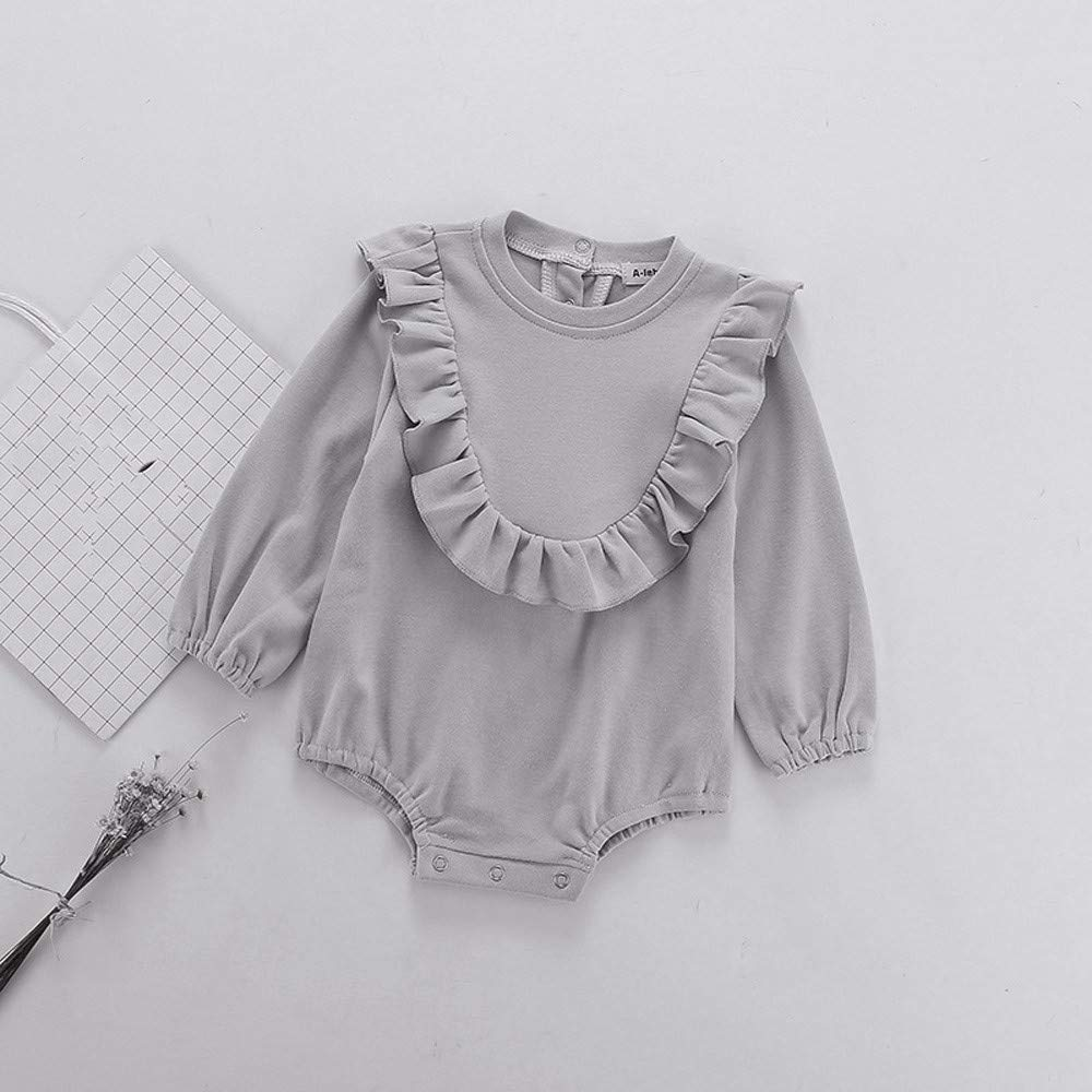 Gornorriss Baby Rompers Newborn Toddler Kid Girl Long Sleeve Solid Bodysuit Outfits Clothes