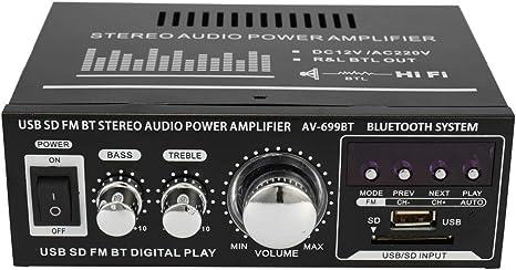 Festnight Amplificatore Audio HiFi Stereo 12V 220V Mini 2CH Display LCD BT FM Radio Portatile Auto Casa 600W Telecomando Amplificatore Audio