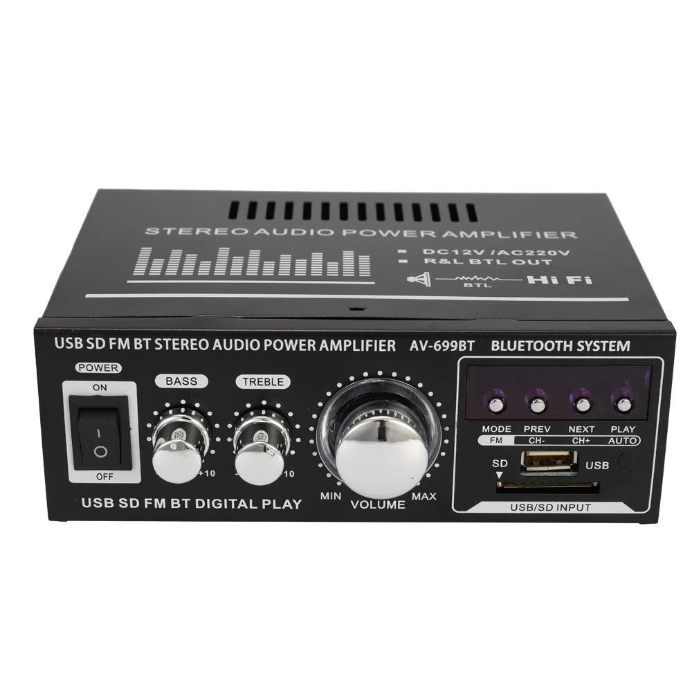 Docooler 12V / 220V Mini 2CH Pantalla LCD de Alta fidelidad de Audio esté reo Amplificador de Potencia BT Radio FM Coche portá til del hogar 400W Control Remoto Amplificador de Audio