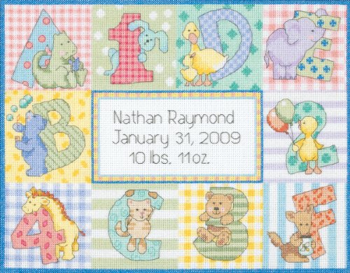 Dimensions Needlecrafts Counted Cross Stitch, Zoo Alphabet Birth Record Birth Record