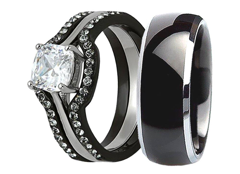 His & Hers 4 Pcs Wedding Ring Set Black Men Titanium Matching Band Women Cushion Cut Stainless Steel