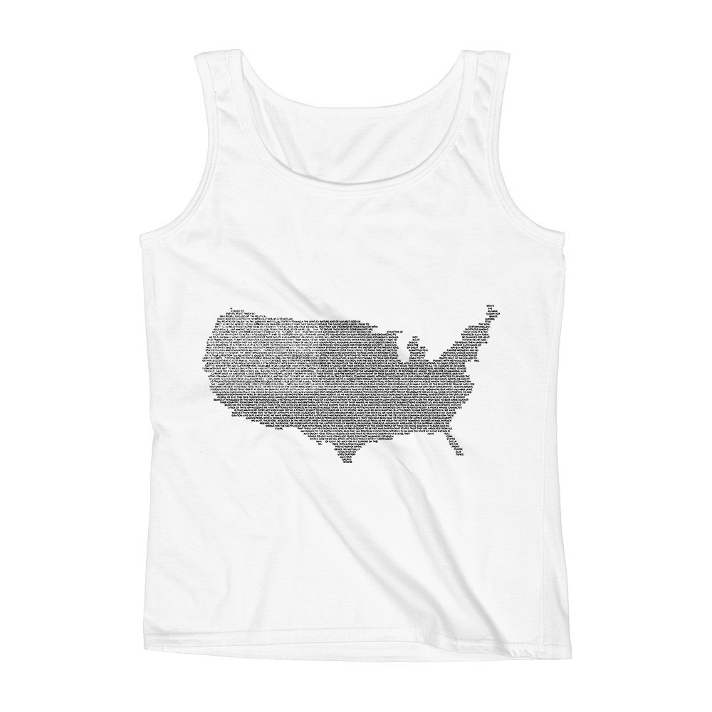 Mad Over Shirts USA National Anthem Proud American Unisex Premium Tank Top