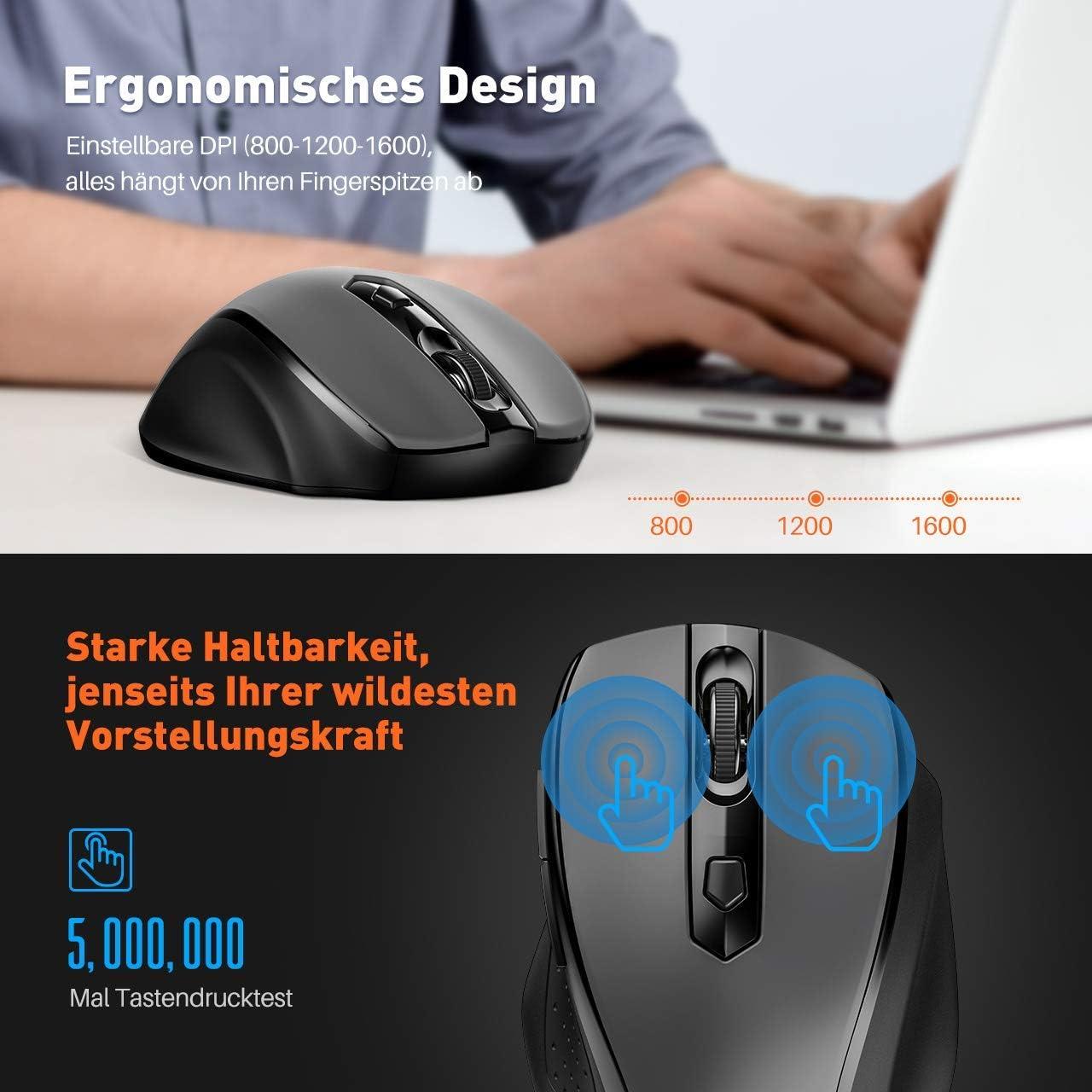 Funktastatur mit Maus Lange Akkulaufzeit f/ür PC Desktop Laptop Notebook 2,4 GHz Wireless Tastatur QWERTZ Deutsches Layout mit Handballenauflage YINGEET Tastatur Maus Set Kabellos USB