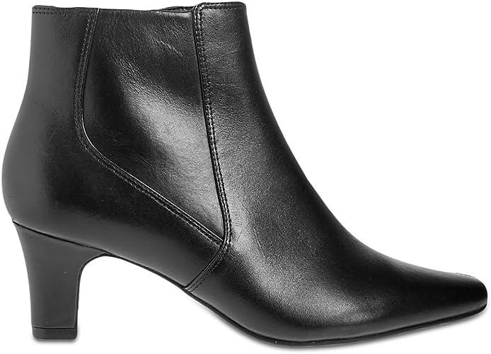 Leather Block Heel Elegant Ankle Boots