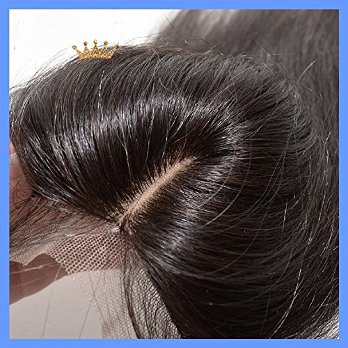 2017 Cheap 18'' Middle Part Silk Base Closure 4''x4'' Russian Virgin Human Hair Natural Straight Natural Colour by DaJun