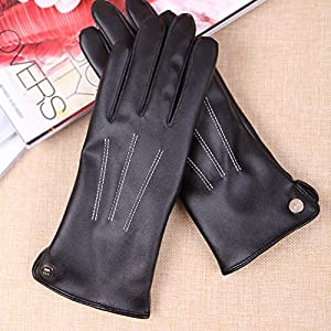 Womens Touchscreen Texting Winter PU Leather Gloves Driving Outdoor Fleece Lining (6.5, Black)