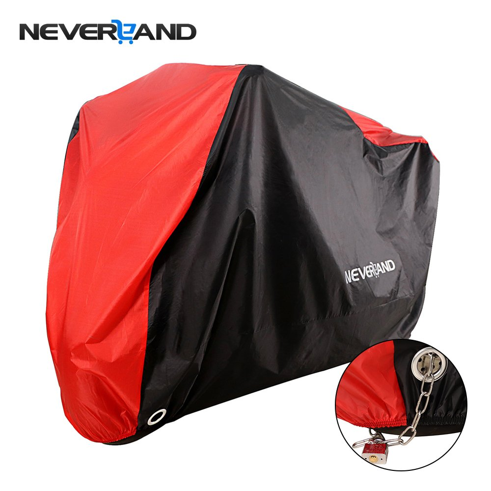 NEVERLAND Motorcycle Cover, Indoor Waterproof UV Dust Protector Cover, 2 Stainless Steel Lock-Holes Fits 98'-106'Road, Cruiser, Touring 2 Stainless Steel Lock-Holes Fits 98-106Road